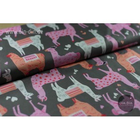 Baumwolle - Lamas, apricot/rosa