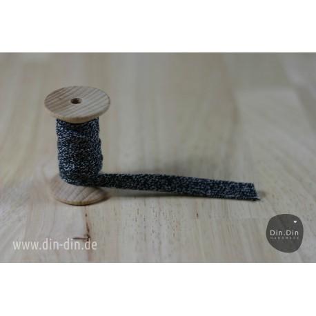 Kordel 1cm - schwarz melliert