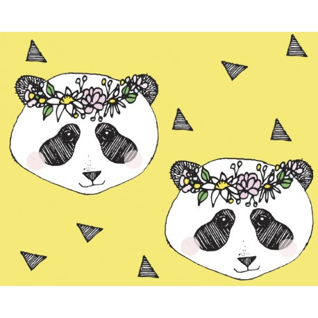Baumwolljersey - Flower Panda Yellow