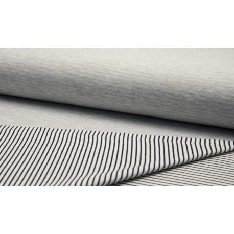 Doubleface Melange Streifen - schwarz/weiß/grau