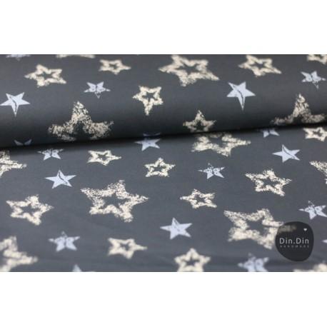 Baumwolljersey - Vintage Sterne, dunkelblau