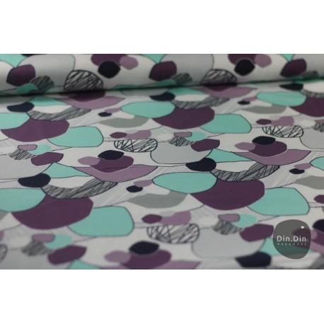 Baumwolljersey - Kreise Steine, lila