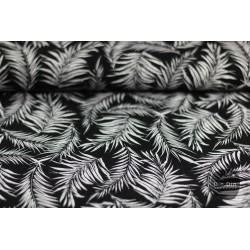 Viskose Print Federn, schwarz/weiß
