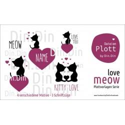 Plottervorlage Plotterdatei Meow - Love
