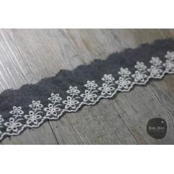 Baumwollspitze - Jeans Optik schwarz, 6cm