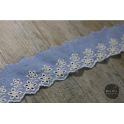 Baumwollspitze - Jeans Optik hellblau, 6cm