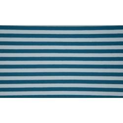 Baumwolljersey - Streifen blau/petrol