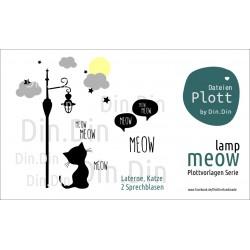 Plottervorlage Plotterdatei Meow - Lamp