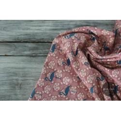 Baumwolljersey Flamingo - altrosa/jeans