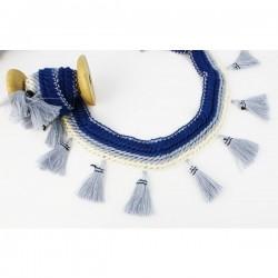 BOHO Quasten - Blue Lines, 7cm