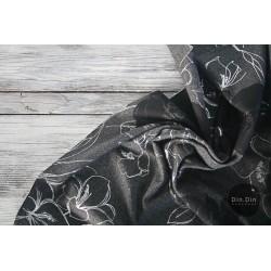 Sweat Blumen, schwarz/silber