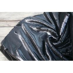 Wende-Pailetten Stoff Bicolour, schwarz/dunkel blau matt