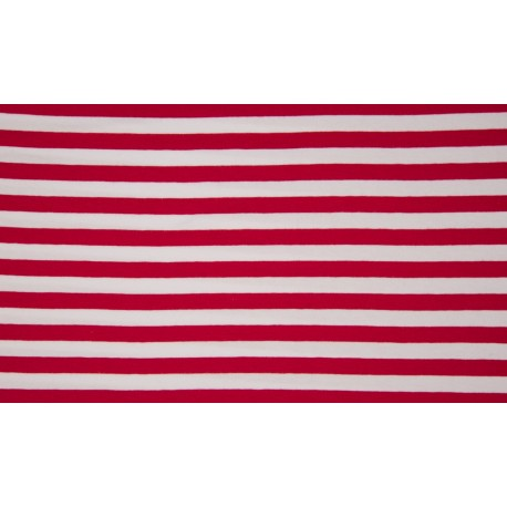 Baumwolljersey - Streifen rot / weiß