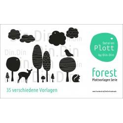 Plottervorlage Plotterdatei Forest Wald Serie