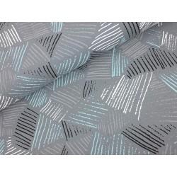 Baumwolljersey - Diagonal Stripes, schwarz, grau, weiß, blau