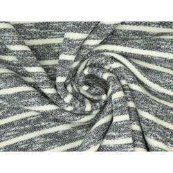 Baumwollsweat Strick Terry Streifen, angeraut - schwarz