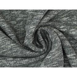 Baumwollsweat Strick Terry Uni, angeraut - schwarz