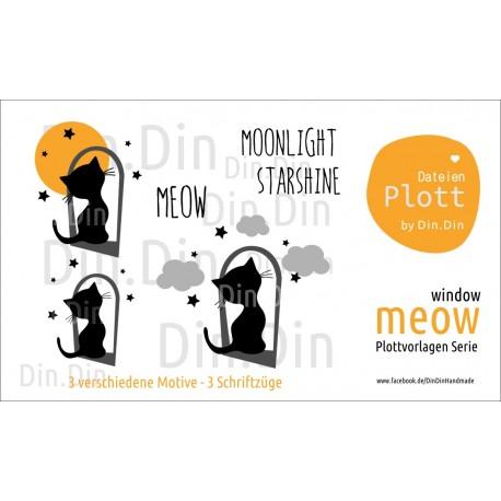 Plottvorlage Plotterdatei Meow - Window