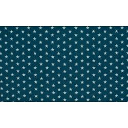 Baumwolljersey - dunkelblau / weiße Sterne