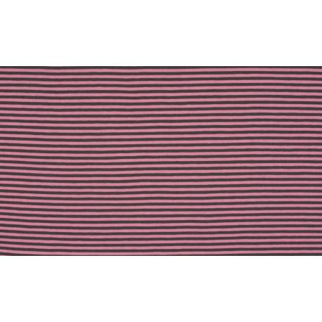 Baumwolljersey - Streifen rosé/grau