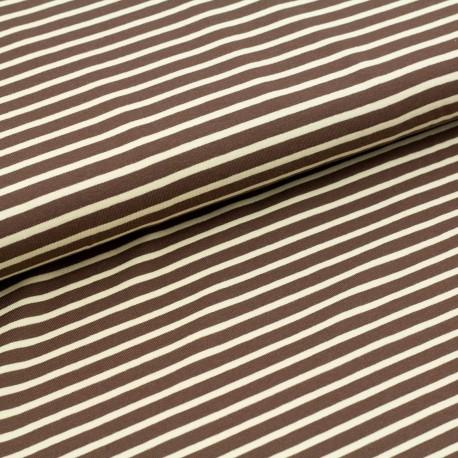 Bio-Baumwolljersey - Streifen dunkelbraun-hellbeige