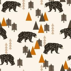Baumwolljersey - Camping Bear Rust