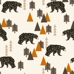 Baumwolljersey - Camping Bear Rust, Design von Andrea Lauren