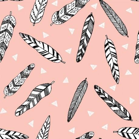 Baumwolljersey - Inky Feather rosa, Design von Andrea Lauren