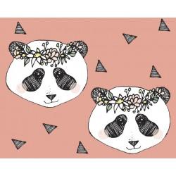 Baumwolljersey - Flower Panda Flamingo