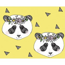 Baumwolljersey - Flower Panda Yellow
