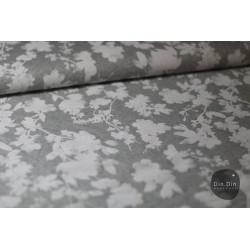 Sommersweat Blumen - weiß/grau