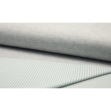 Doubleface Melange Streifen - mint/weiß/grau