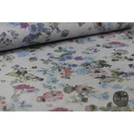 Sommersweat Blumen - bunt/grau