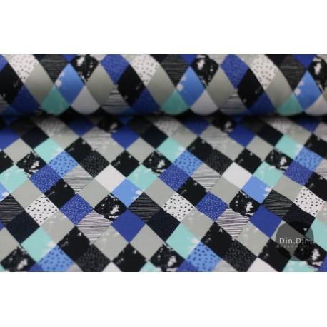 Baumwollsweat Strech Sweat Karo, blau