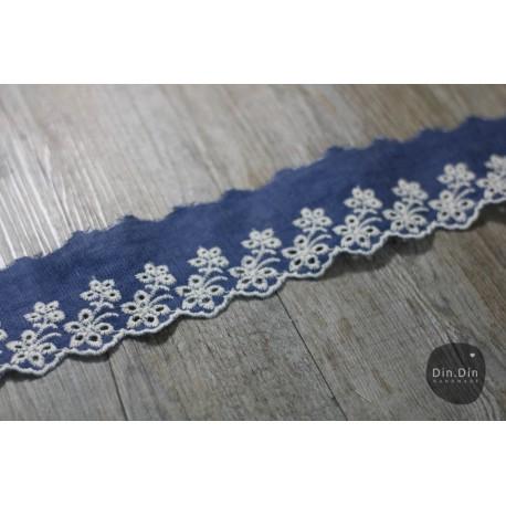 Baumwollspitze - Jeans Optik dunkelblau, 6cm