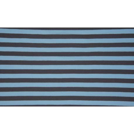 Baumwolljersey - Streifen hellblau / grau