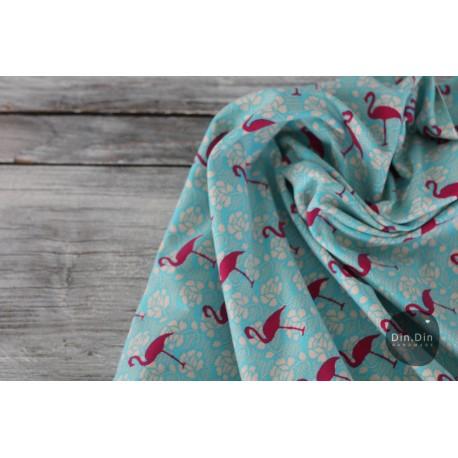 Baumwolljersey Vintage Flamingo - türkis/pink