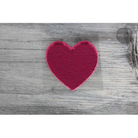 Patch - Pailletten Herz - pink