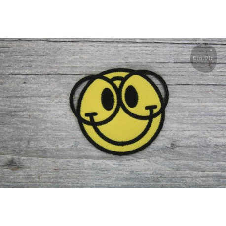 Patch - Smiley Nerd Brille Größe je: ca. 6 x 6,5cm