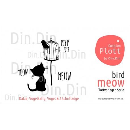 Plottervorlage Plotterdatei Meow - Bird