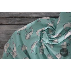 Bio-Baumwolljersey - Whales, mint