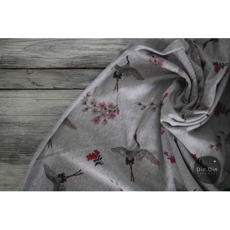 Sweat Kranich, Blumen - bunt/grau