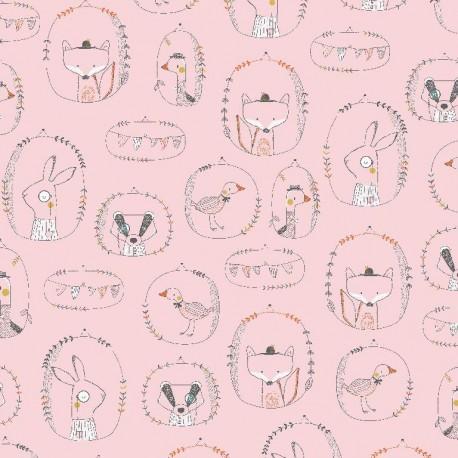 Baumwolljersey - Playful Animals, rosa