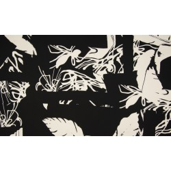 Crepe Print Floral Abstract - schwarz