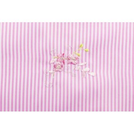 Modestoff - bestickt Blumen, rosa gestreift