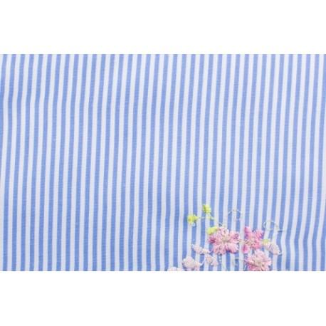 Modestoff - bestickt Blumen, blau gestreift