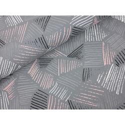 Baumwolljersey - Diagonal Stripes, schwarz, grau, weiß, rosa