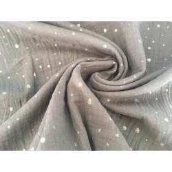 Musselin Baumwolle Dots - grau/silber
