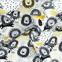 Sommersweat Löwe - senf, schwarz grau
