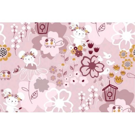 Baumwolljersey - Flower Mouse - altrosa